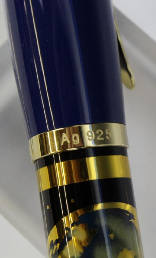 Rare PELIKAN Planet Blue Sterling Silver Fountain Pen - 8
