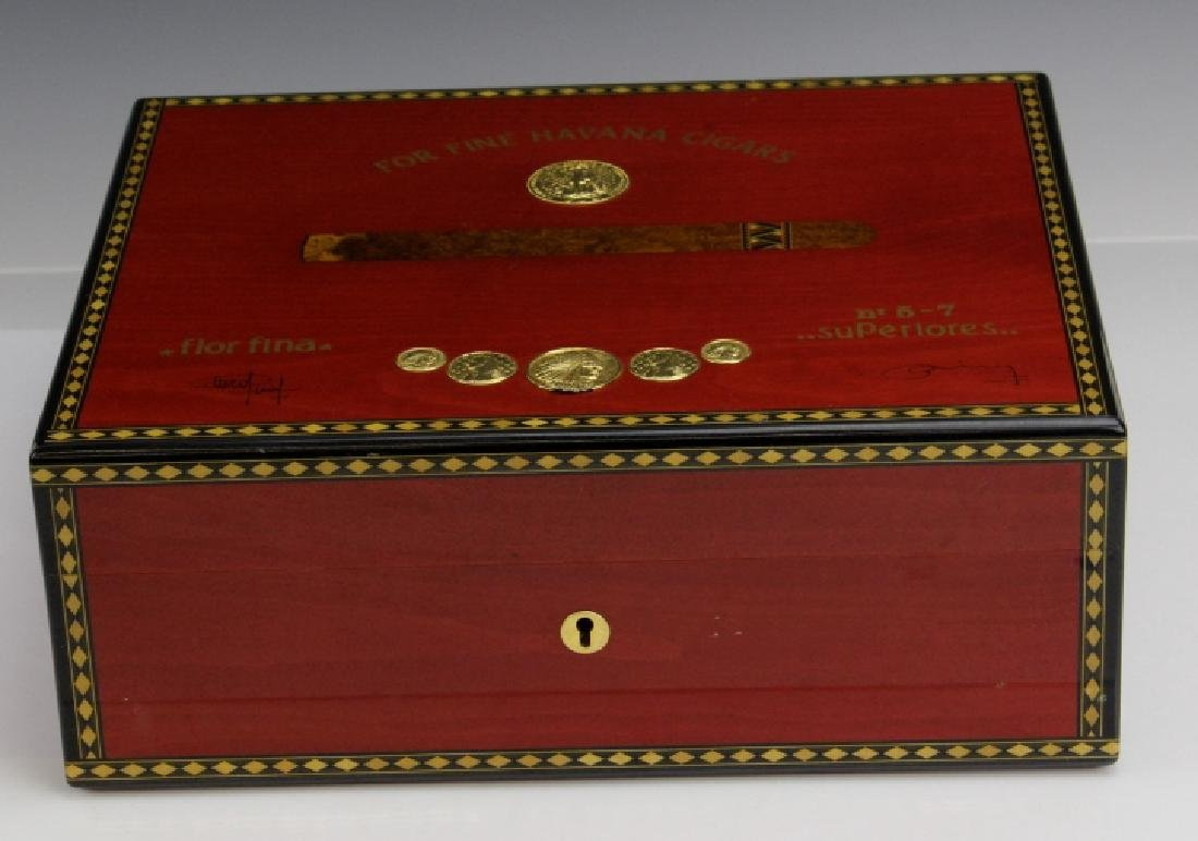 ELIE BLUE Flor Fina Red Havana Cigar Box Humidor PARIS