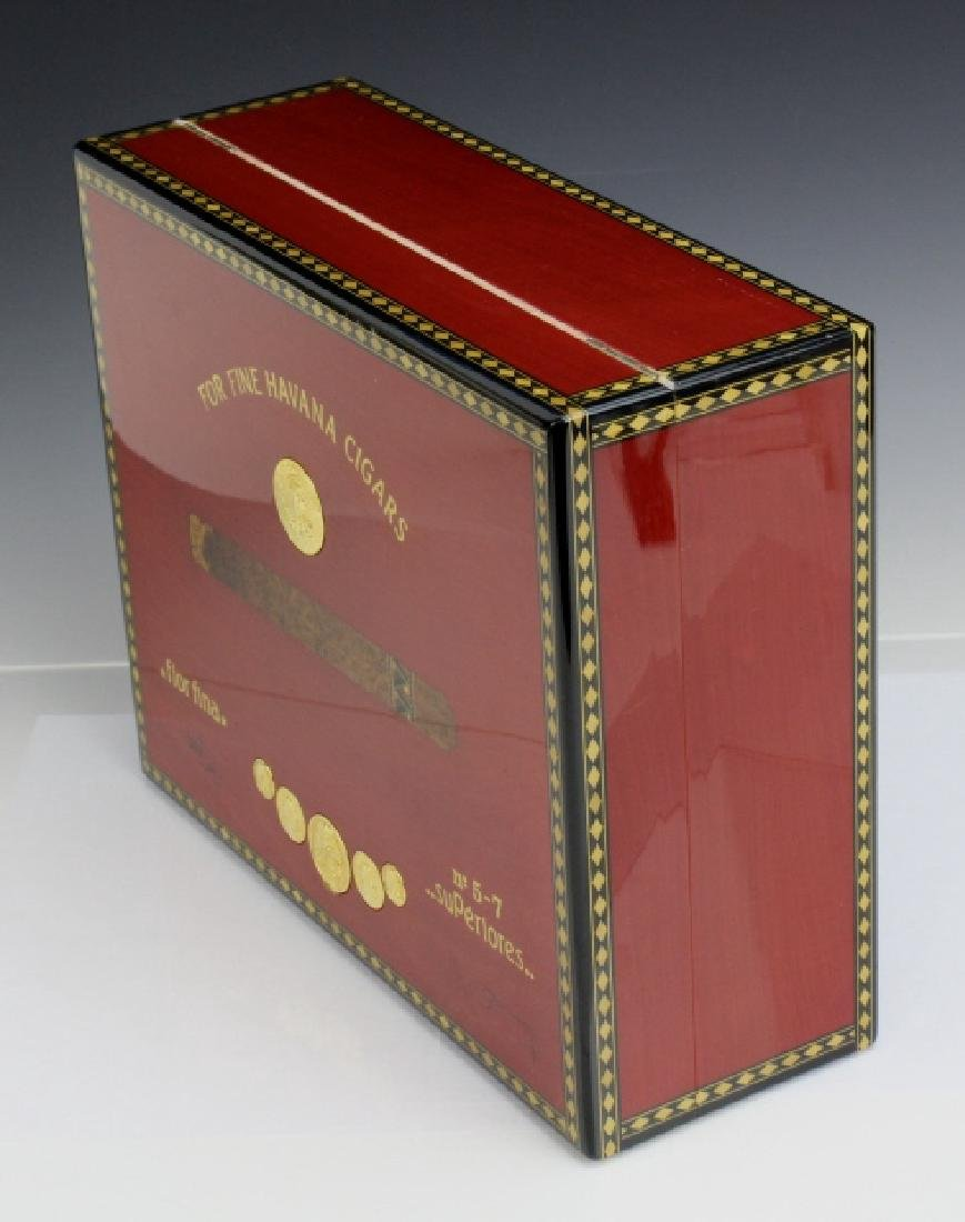 ELIE BLUE Flor Fina Red Havana Cigar Box Humidor PARIS - 6