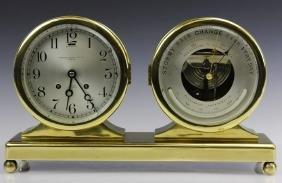Double Chelsea Brass Ships Bell Clock w Barometer