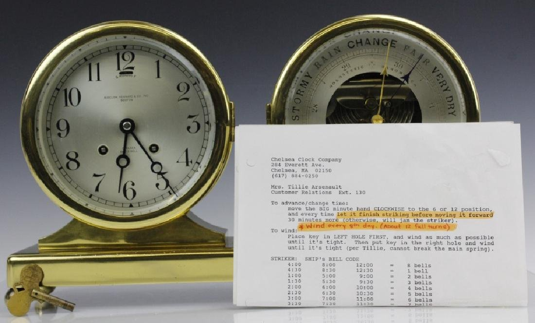 Double Chelsea Brass Ships Bell Clock w Barometer - 2