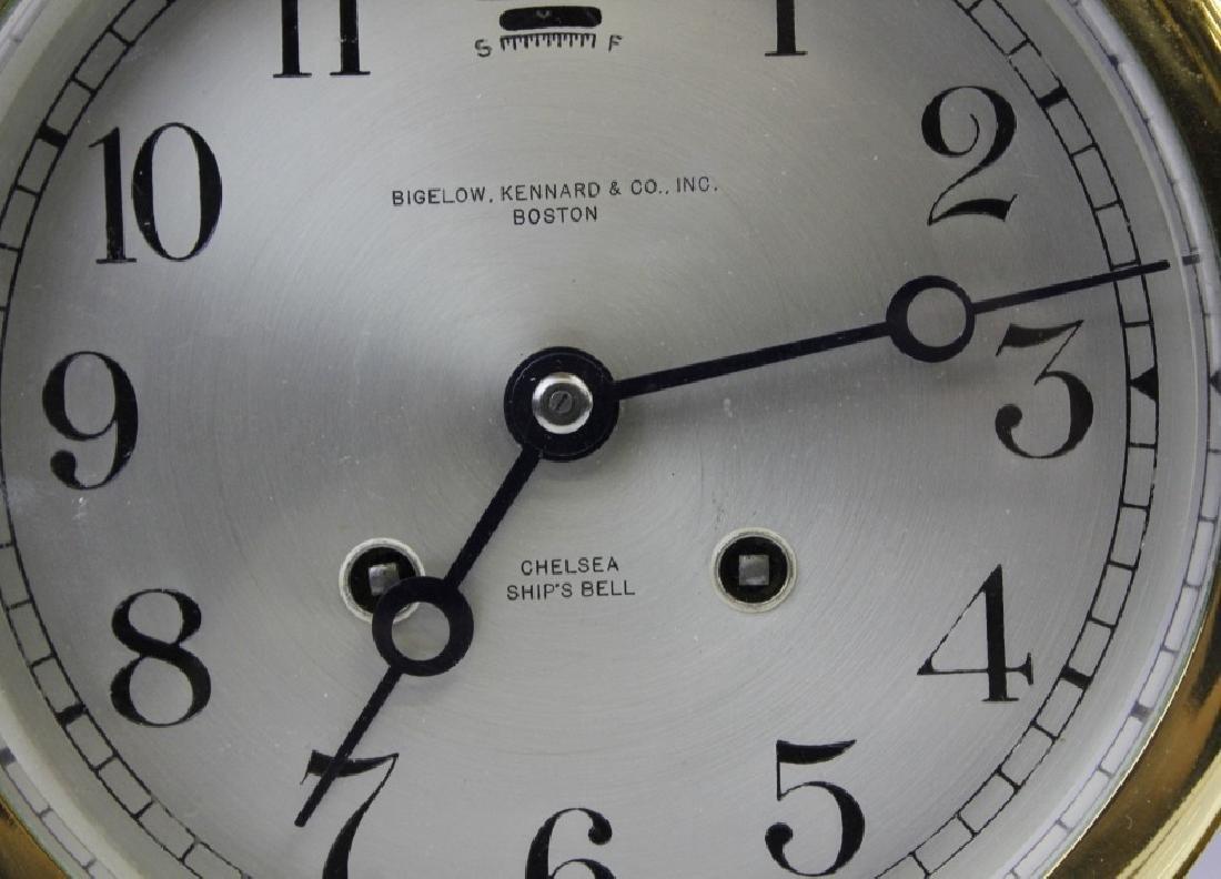 Double Chelsea Brass Ships Bell Clock w Barometer - 3