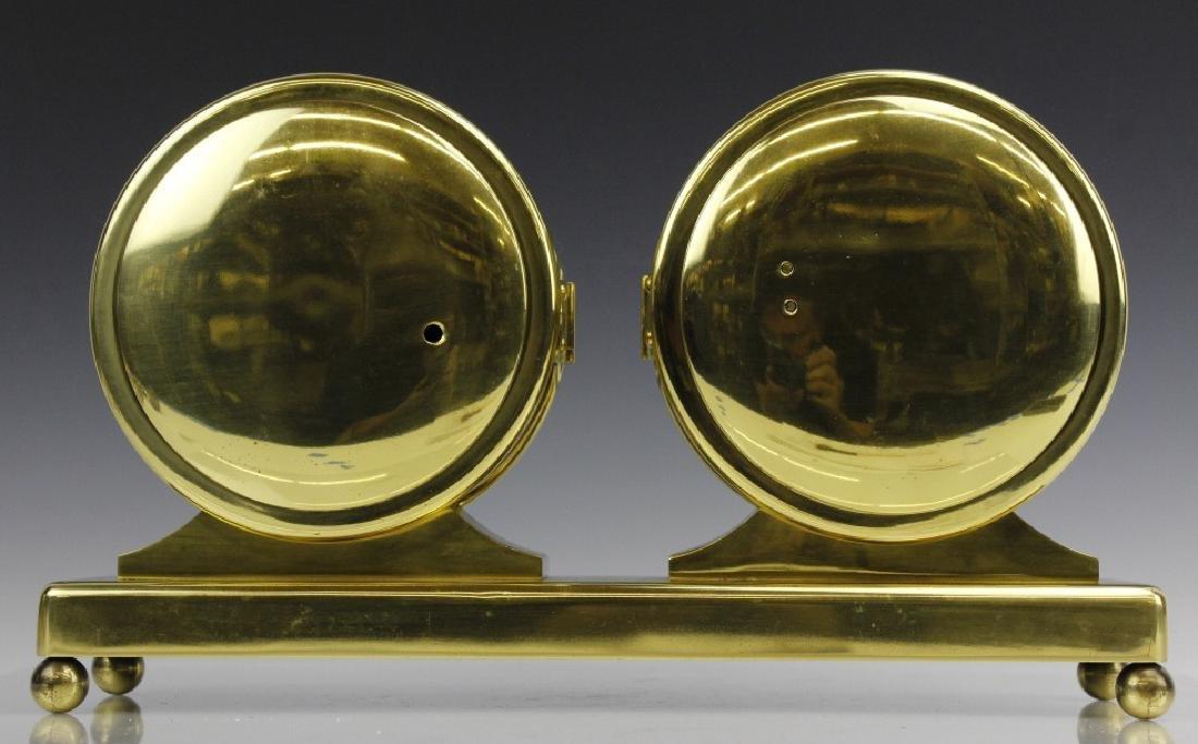 Double Chelsea Brass Ships Bell Clock w Barometer - 7