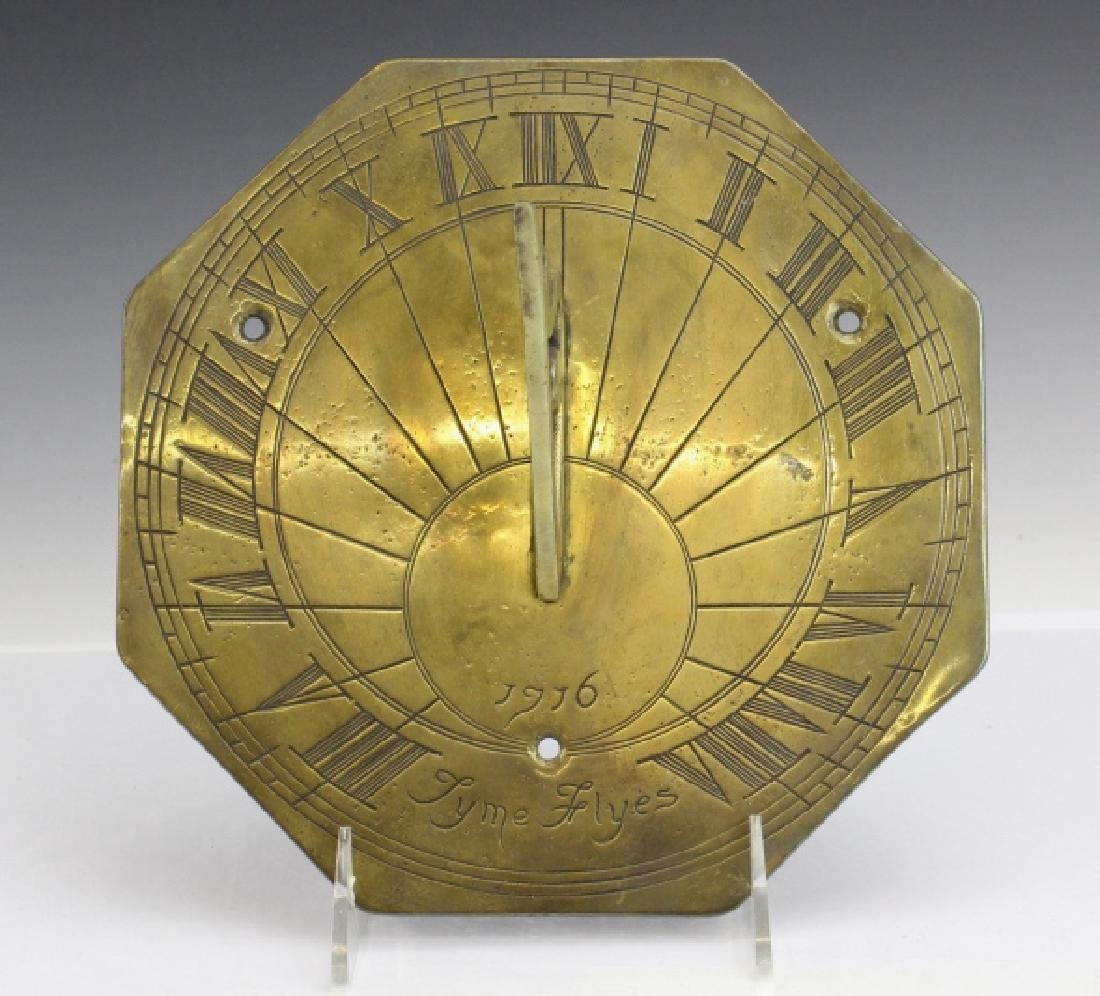 18c Style Engraved Brass Tyme Flyes Sundial