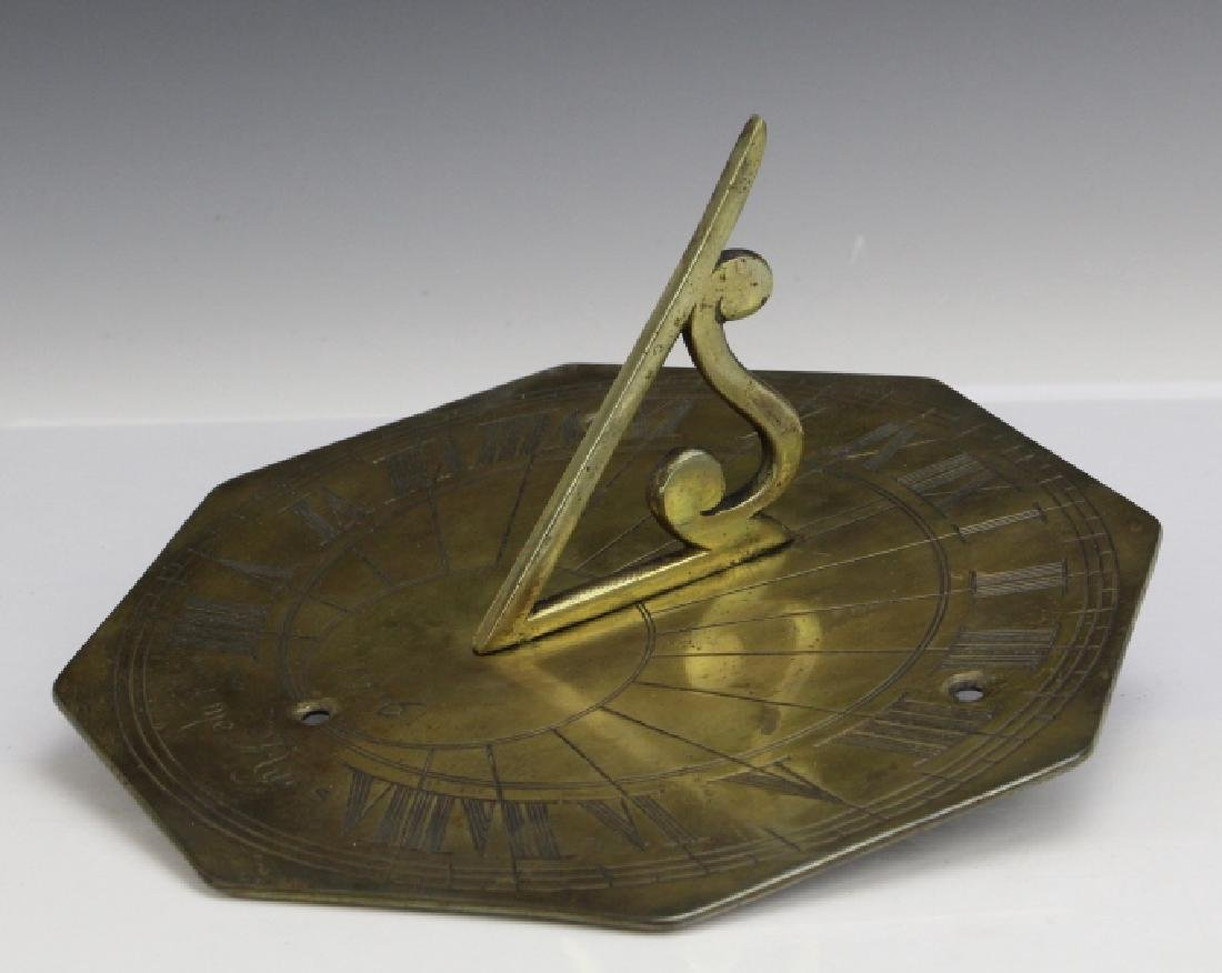 18c Style Engraved Brass Tyme Flyes Sundial - 2