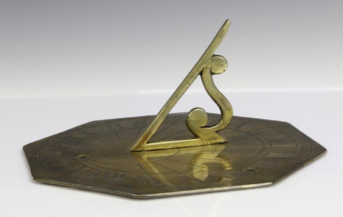 18c Style Engraved Brass Tyme Flyes Sundial - 3