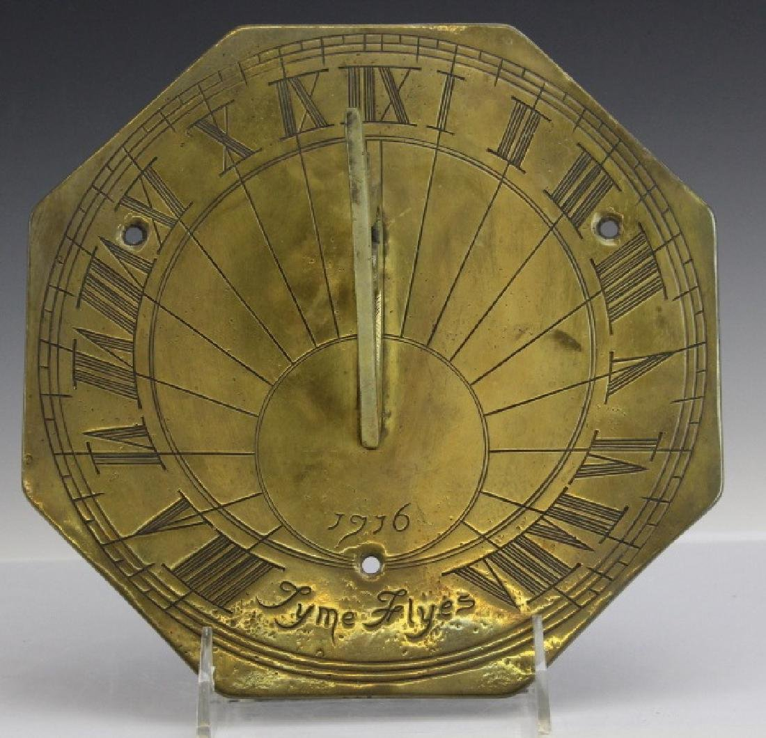 18c Style Engraved Brass Tyme Flyes Sundial - 5