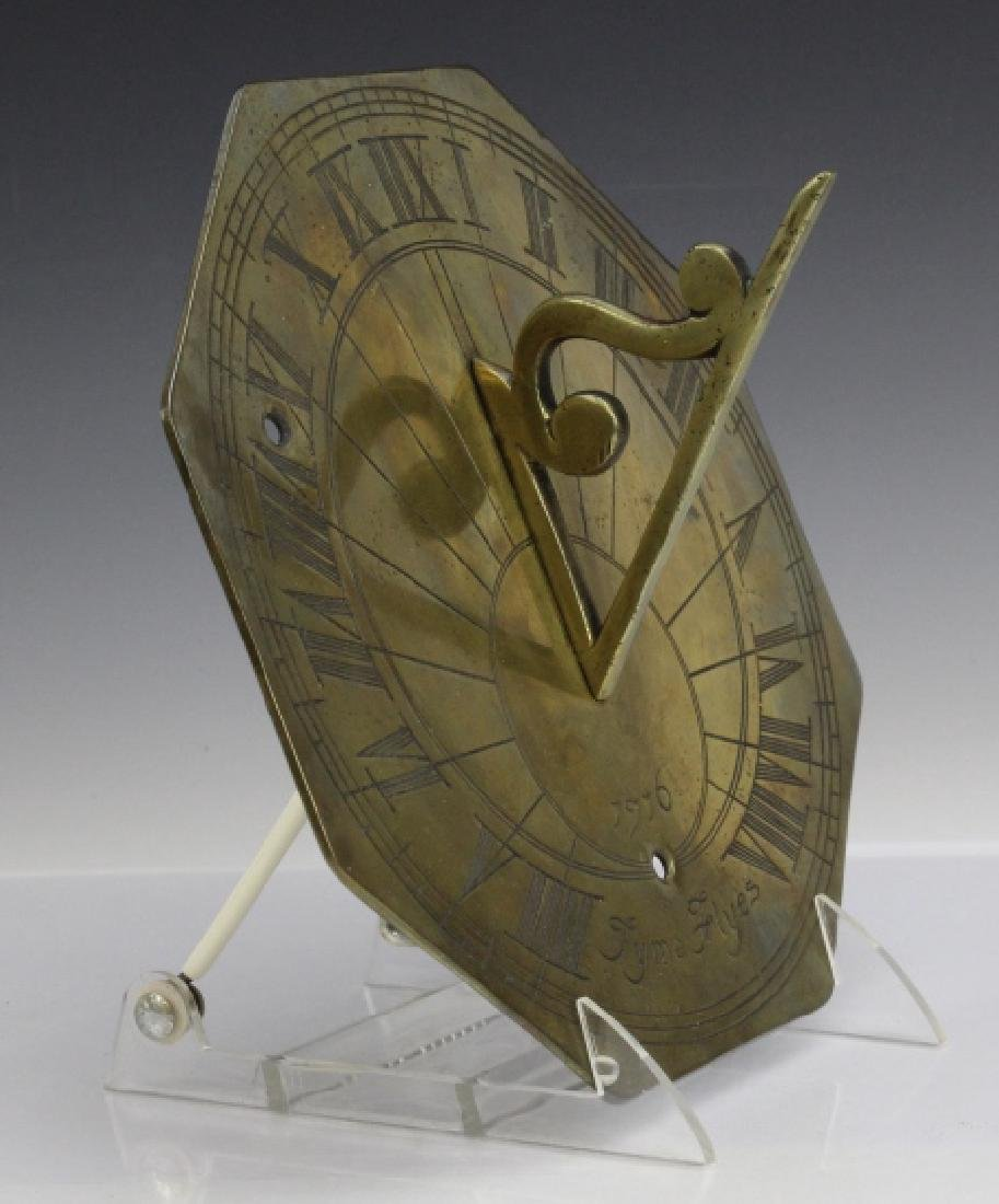 18c Style Engraved Brass Tyme Flyes Sundial - 7