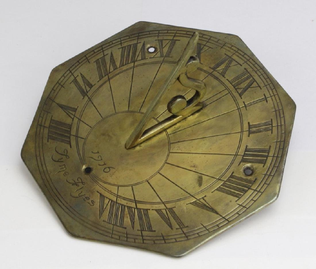 18c Style Engraved Brass Tyme Flyes Sundial - 9