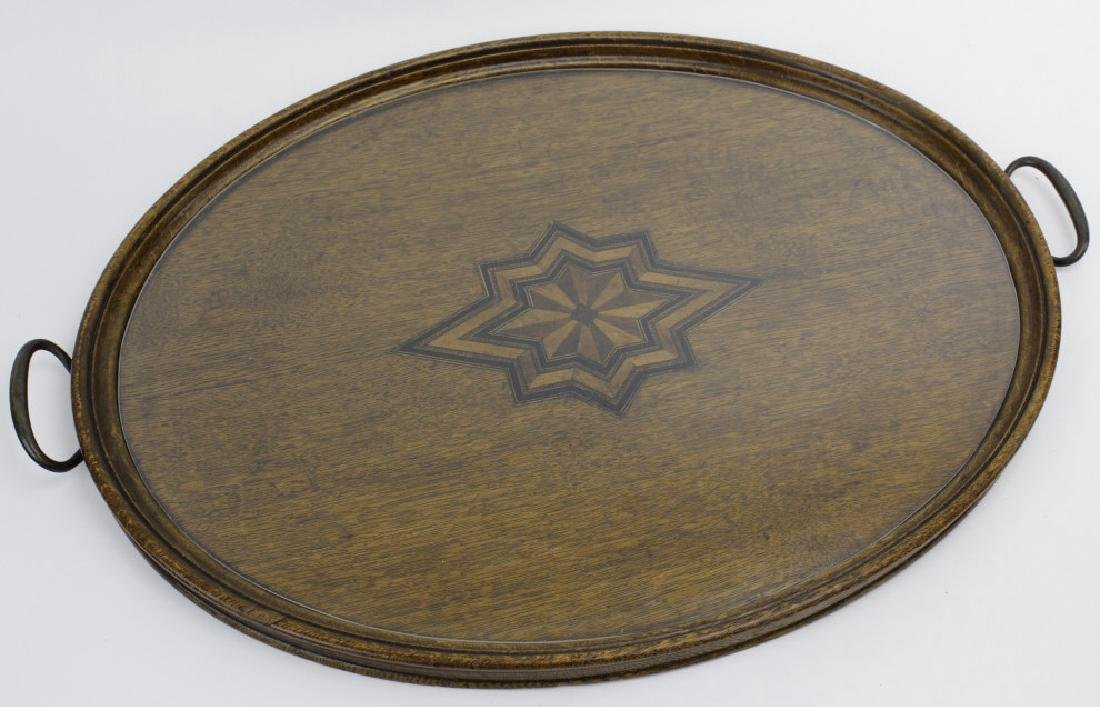 Antique 19c Compass Star Inlaid Oval Oak Tray