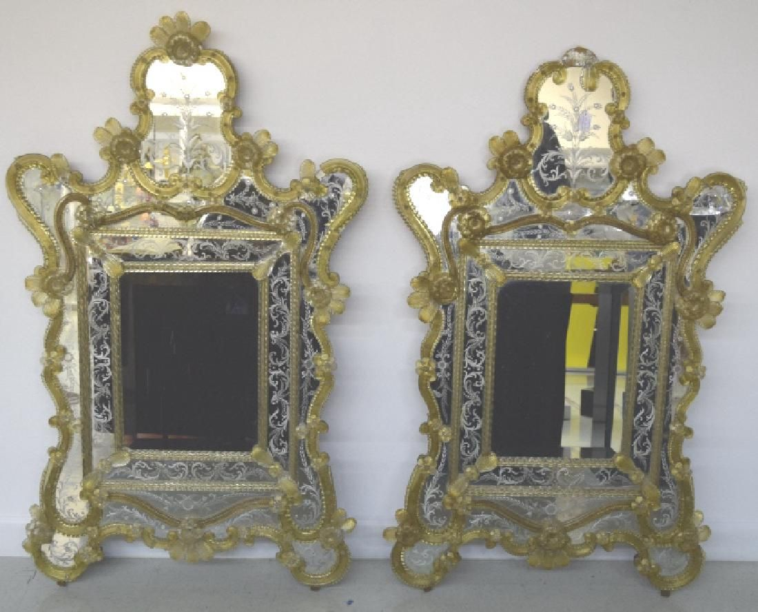 Pair Early 20th Century Venetian Gold Glass Mirror