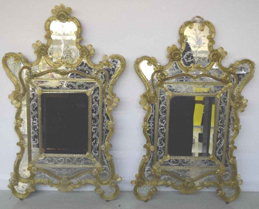 Pair Early 20th Century Venetian Gold Glass Mirror