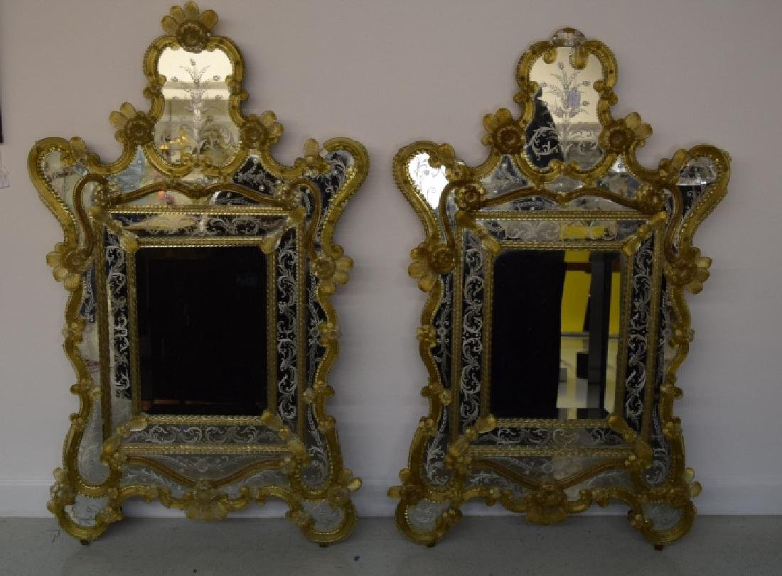 Pair Early 20th Century Venetian Gold Glass Mirror - 2