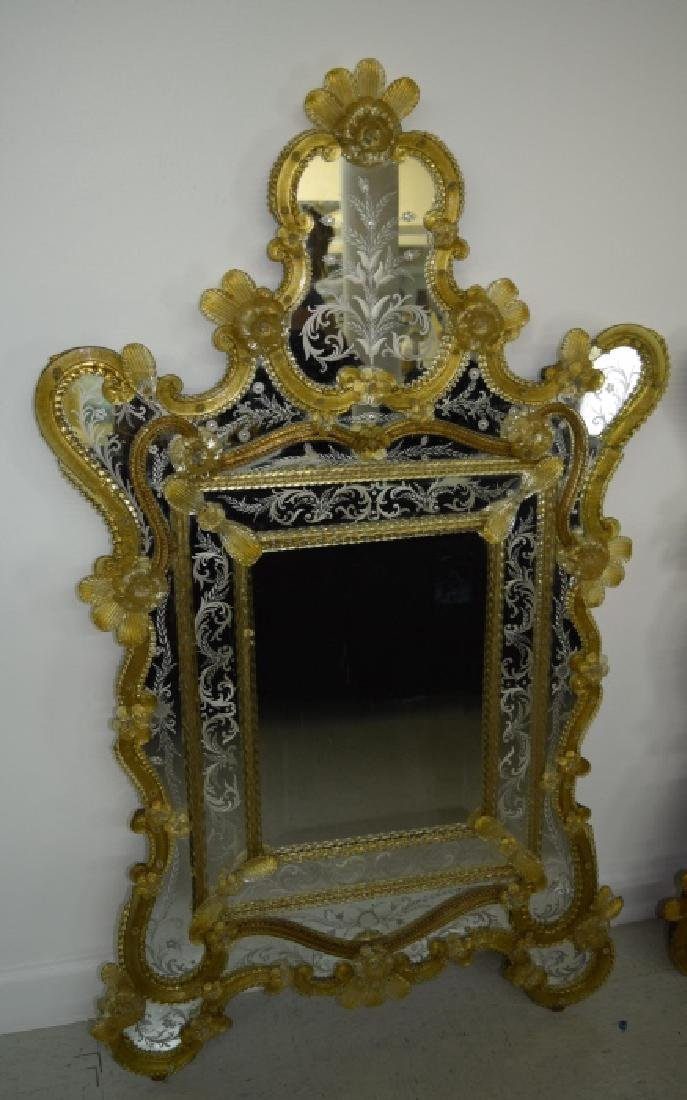 Pair Early 20th Century Venetian Gold Glass Mirror - 3