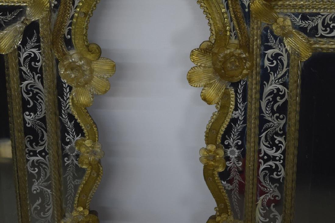 Pair Early 20th Century Venetian Gold Glass Mirror - 4