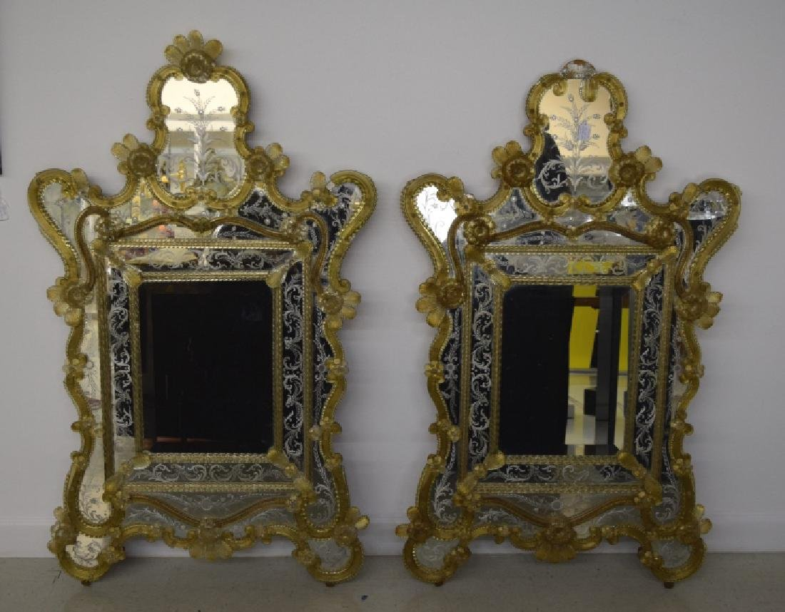 Pair Early 20th Century Venetian Gold Glass Mirror - 5