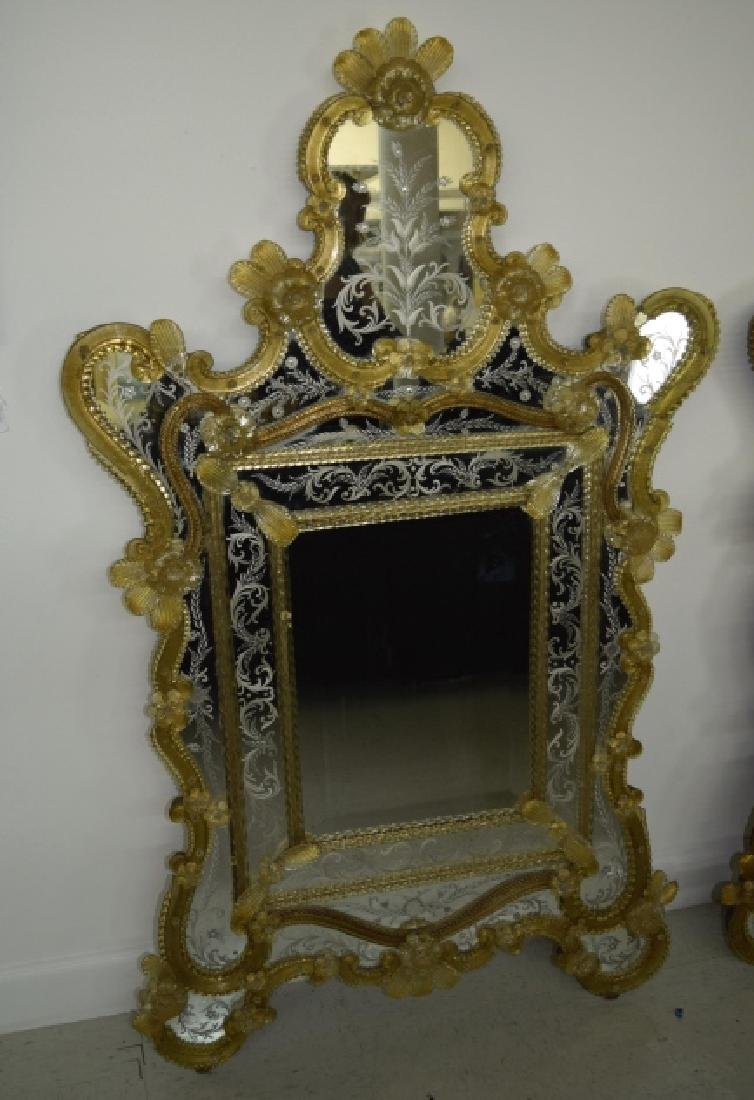 Pair Early 20th Century Venetian Gold Glass Mirror - 7