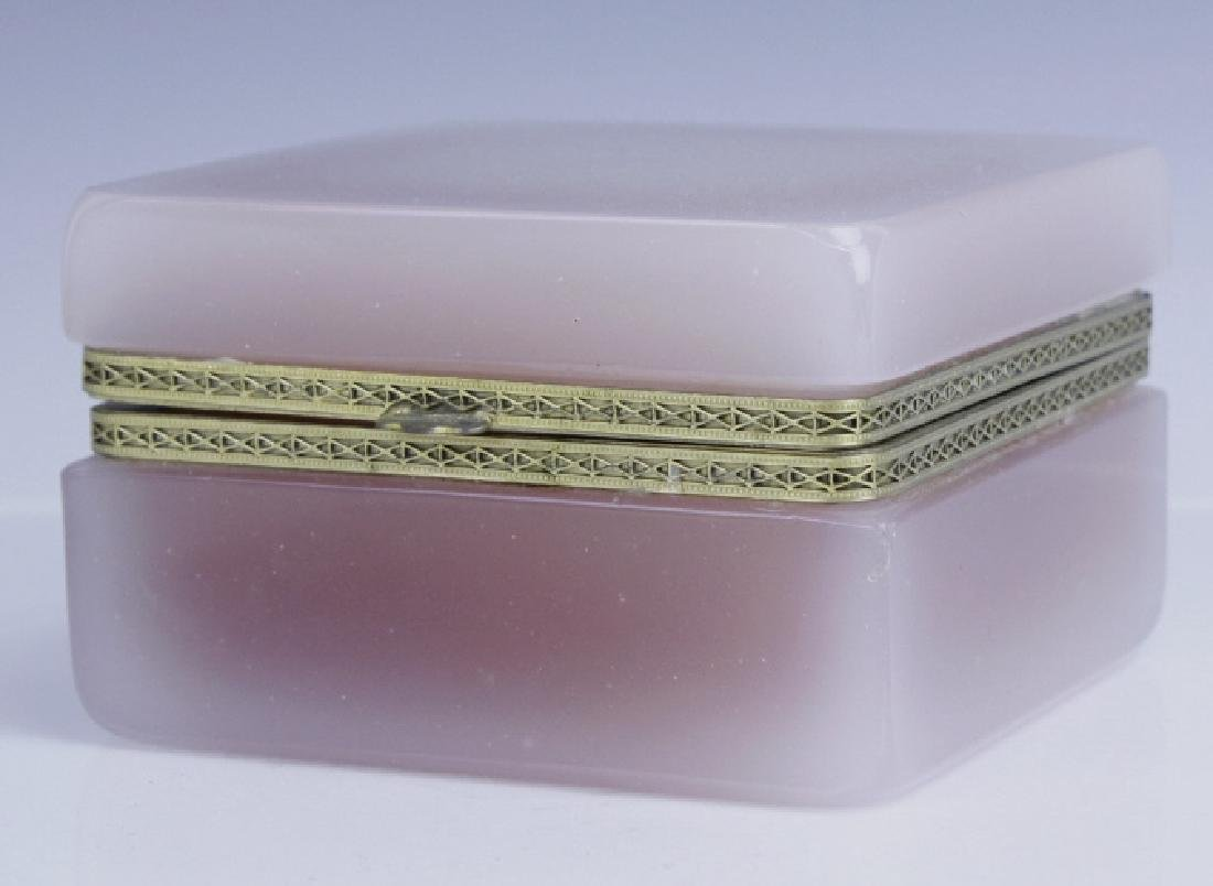 French Pink Opaline Art Glass Jewelry Trinket Box