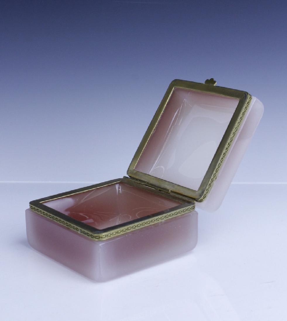 French Pink Opaline Art Glass Jewelry Trinket Box - 2
