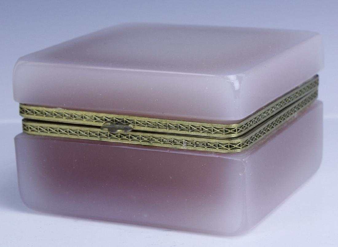 French Pink Opaline Art Glass Jewelry Trinket Box - 3