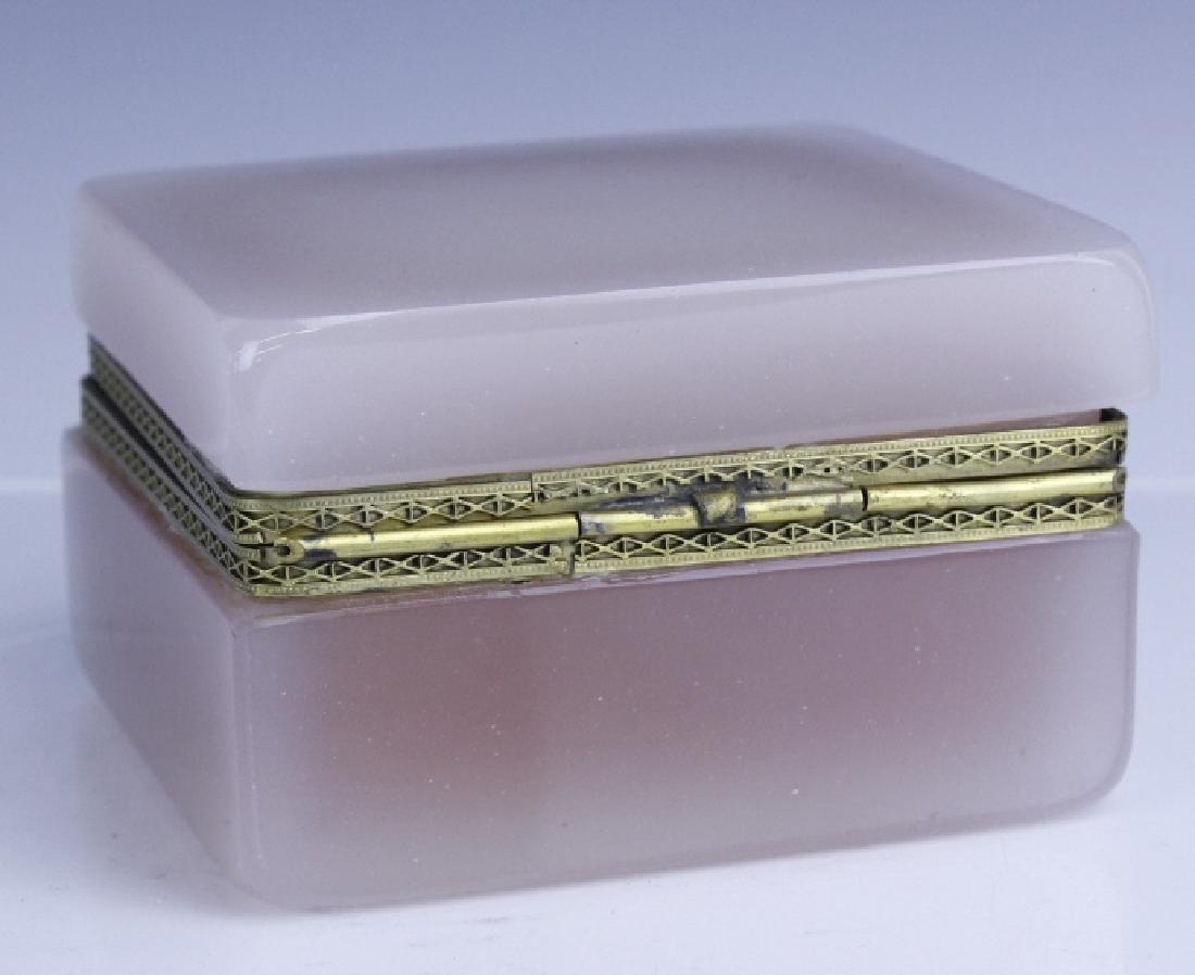 French Pink Opaline Art Glass Jewelry Trinket Box - 4