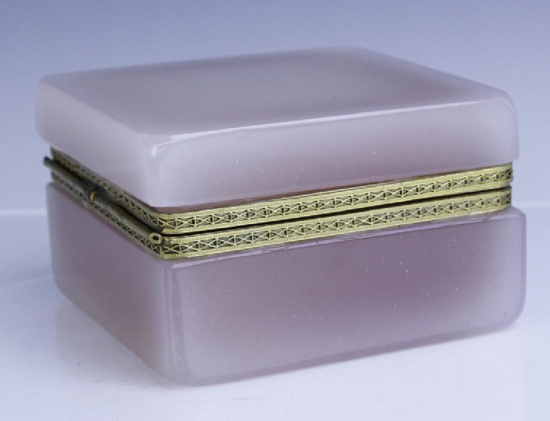 French Pink Opaline Art Glass Jewelry Trinket Box - 5