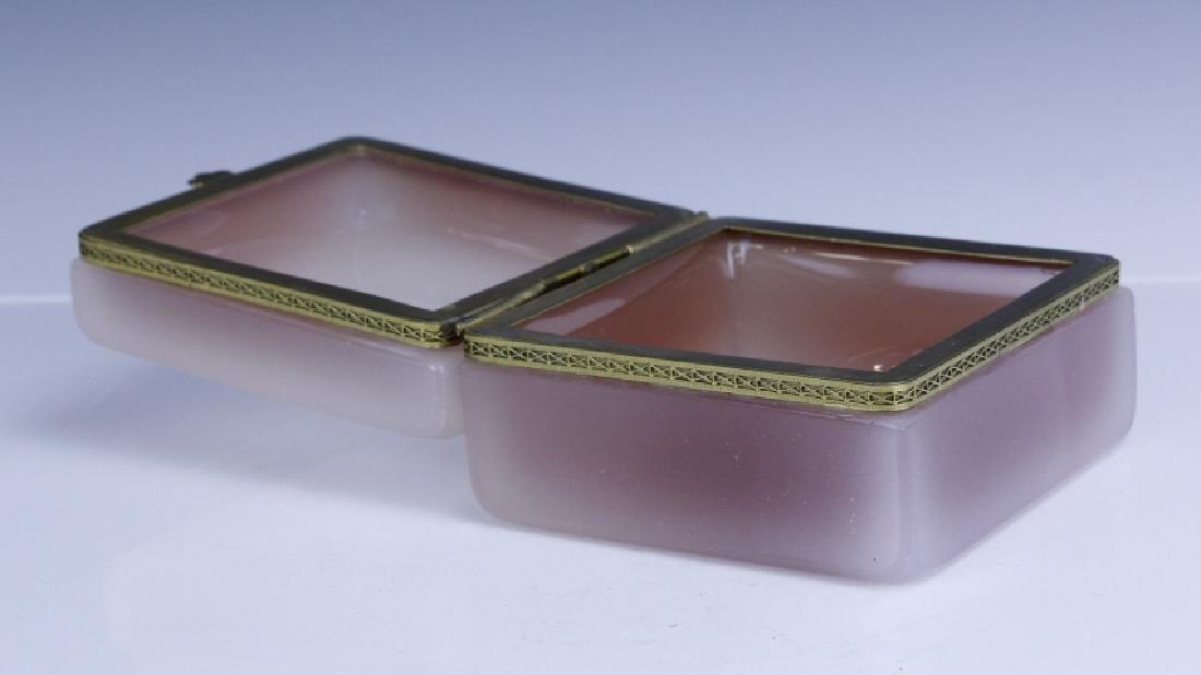 French Pink Opaline Art Glass Jewelry Trinket Box - 6