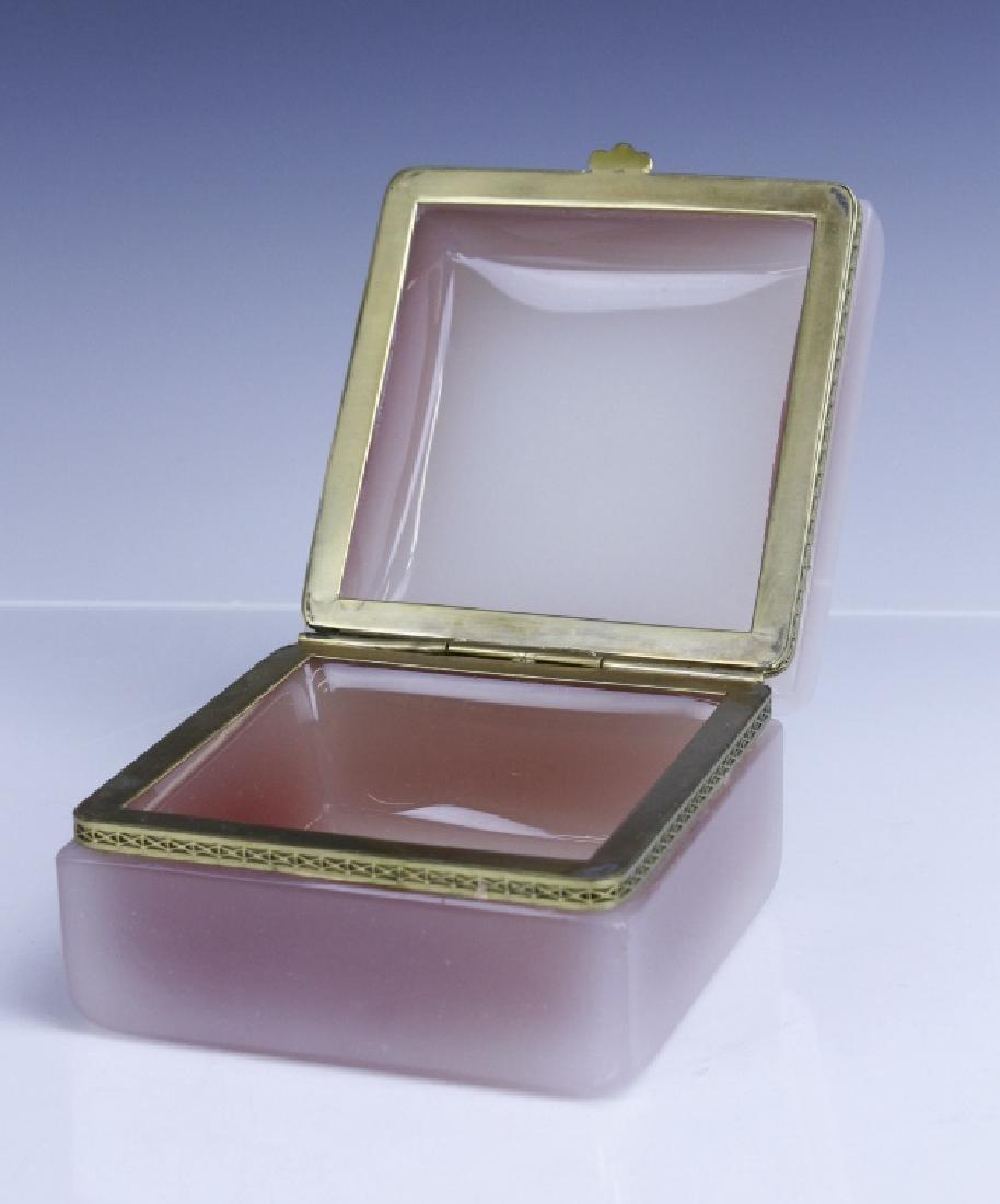French Pink Opaline Art Glass Jewelry Trinket Box - 7