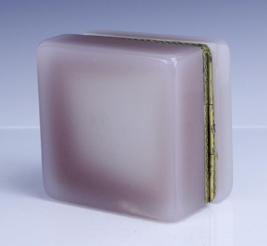 French Pink Opaline Art Glass Jewelry Trinket Box - 8