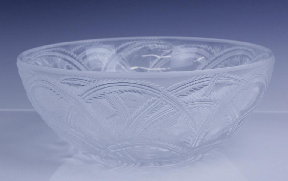 Lalique French Art Glass PINSONS Bird & Fern Bowl