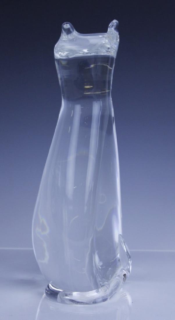 Signed STEUBEN Modernist Art Glass Cat Sculpture - 4