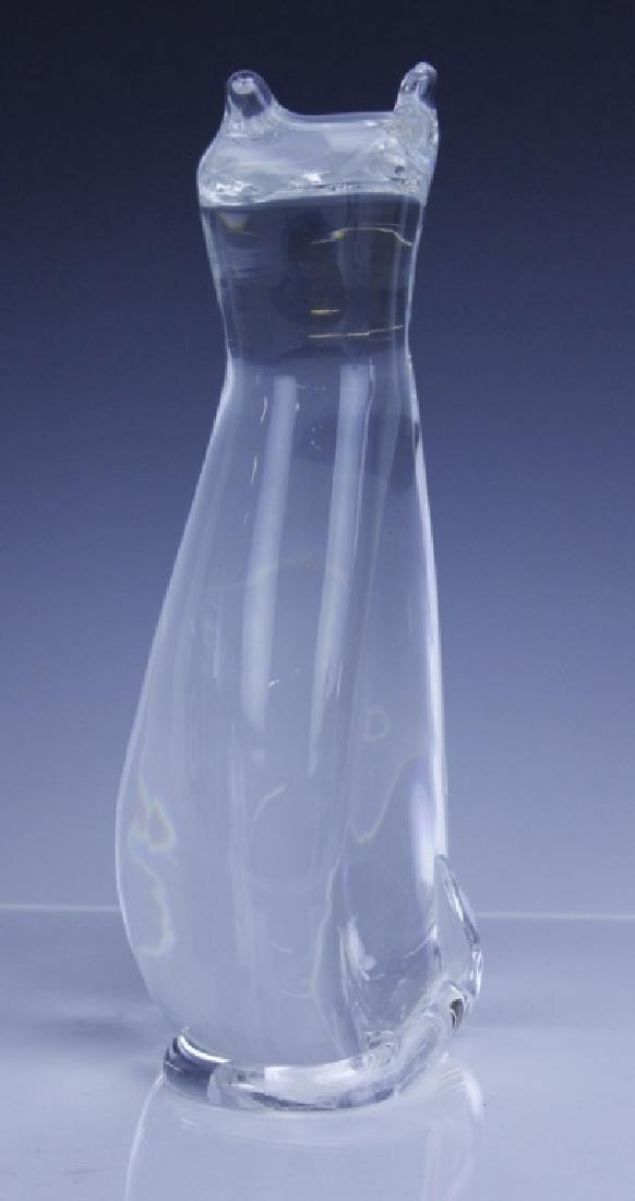 Signed STEUBEN Modernist Art Glass Cat Sculpture - 5