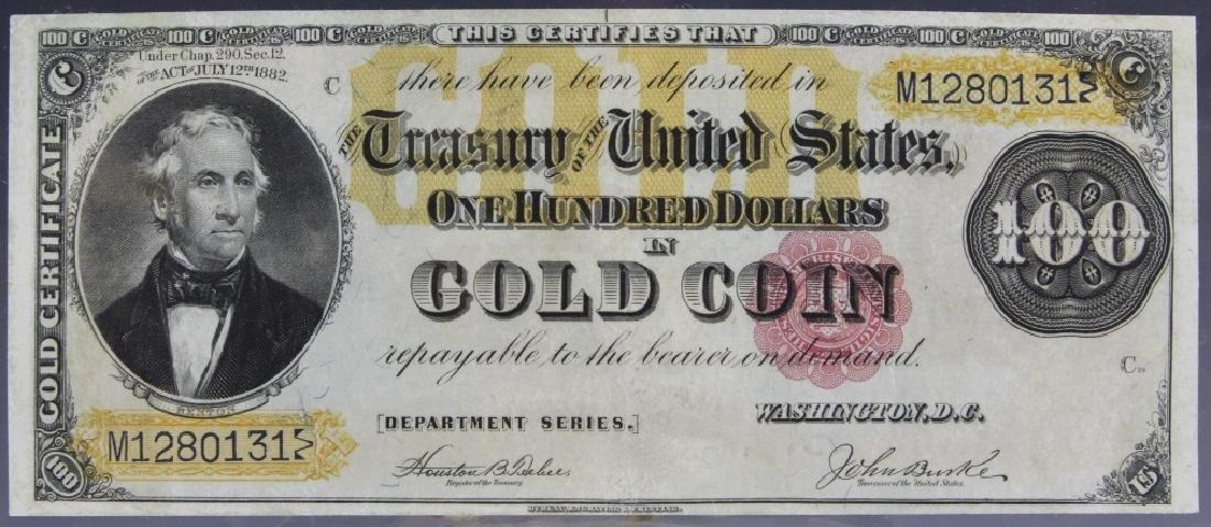 High Grade 1882 $100 Gold Certificate Fr. 1214
