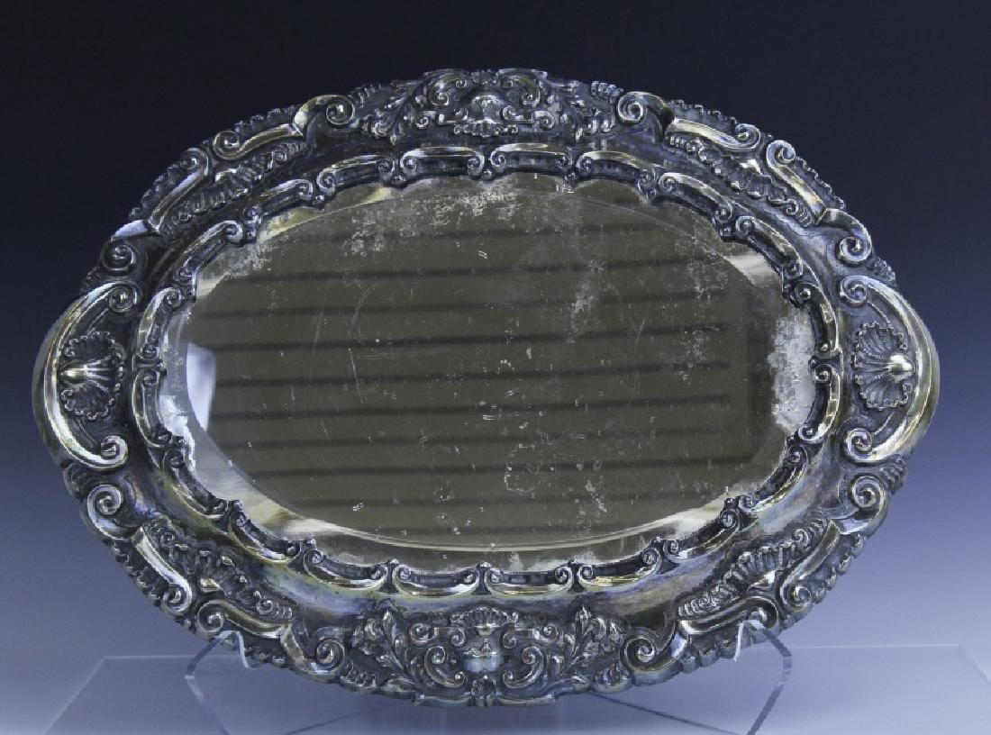 Ornate Repousse Continental Silver Mirror Plateau - 2