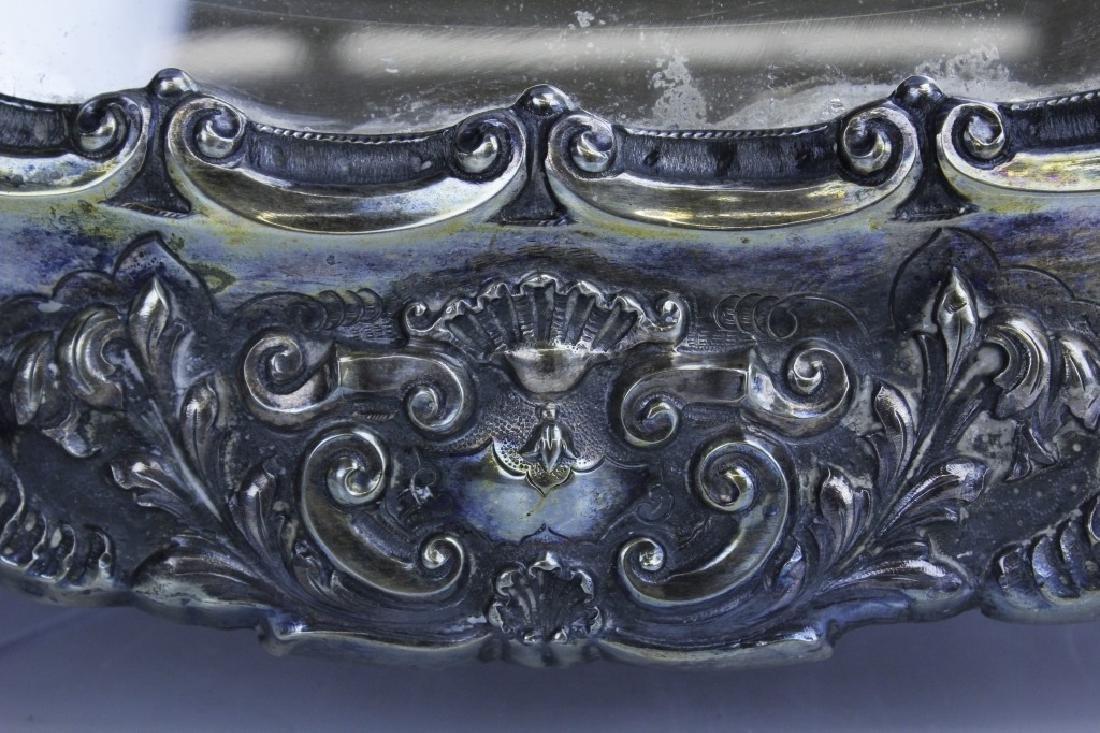 Ornate Repousse Continental Silver Mirror Plateau - 3