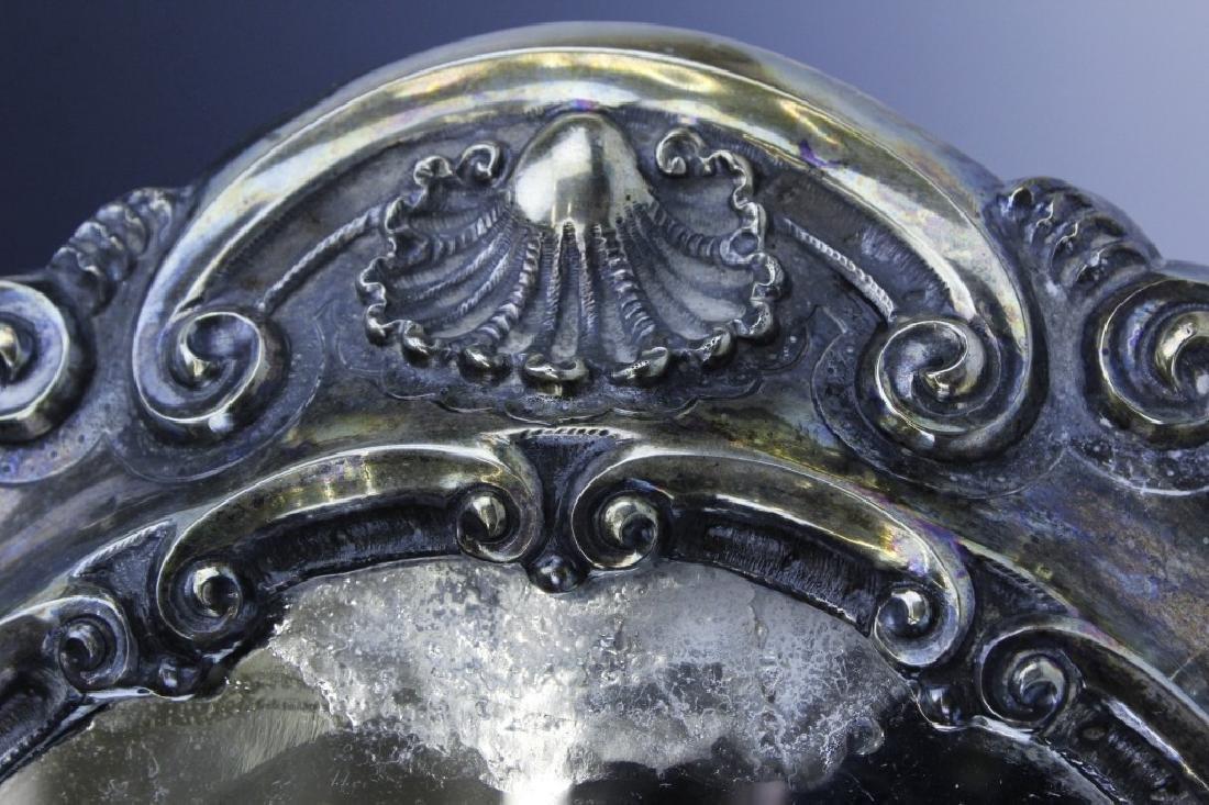 Ornate Repousse Continental Silver Mirror Plateau - 4