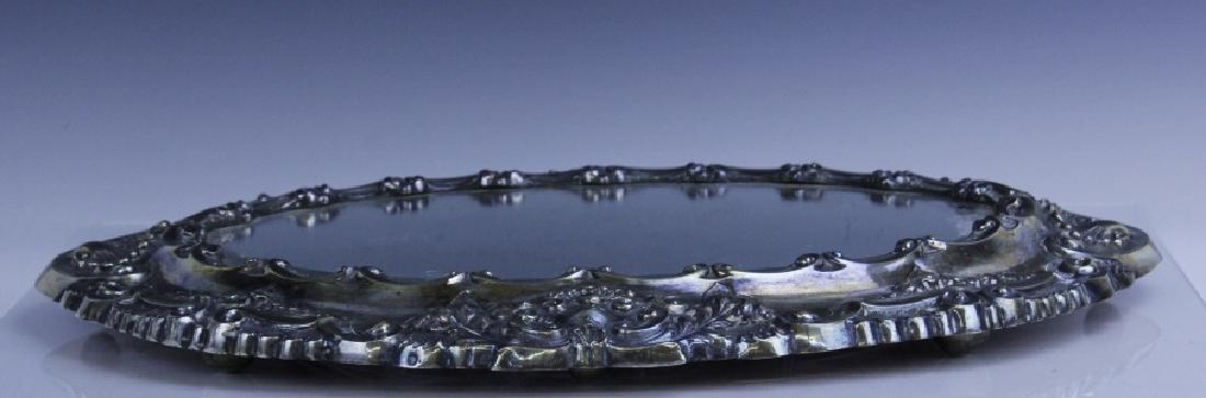 Ornate Repousse Continental Silver Mirror Plateau - 5