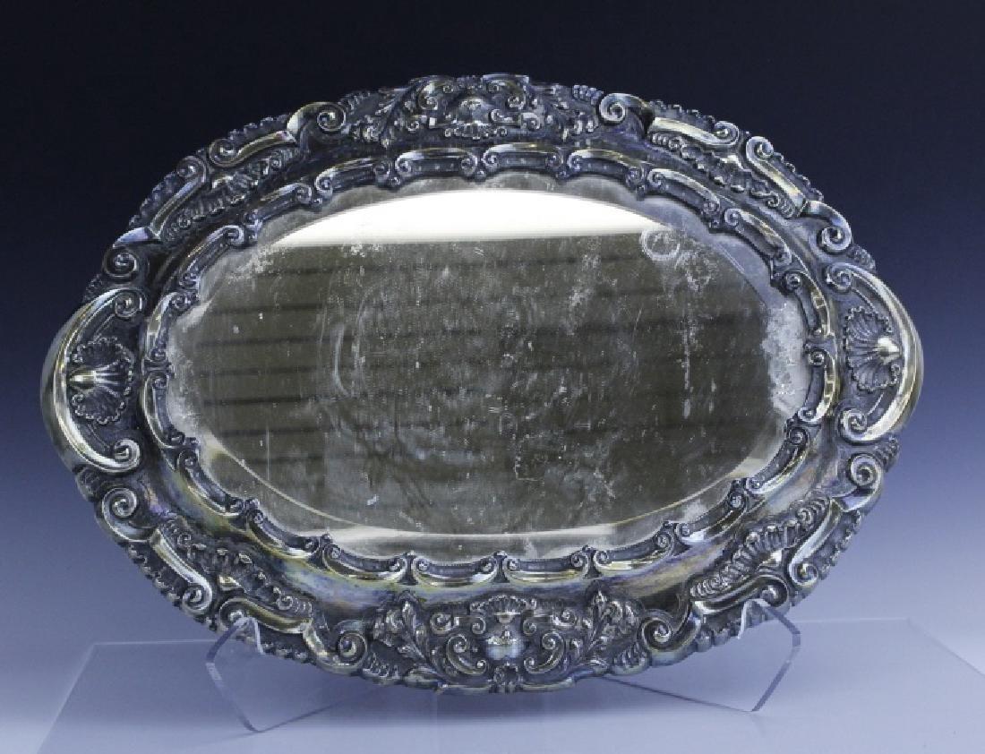 Ornate Repousse Continental Silver Mirror Plateau - 6
