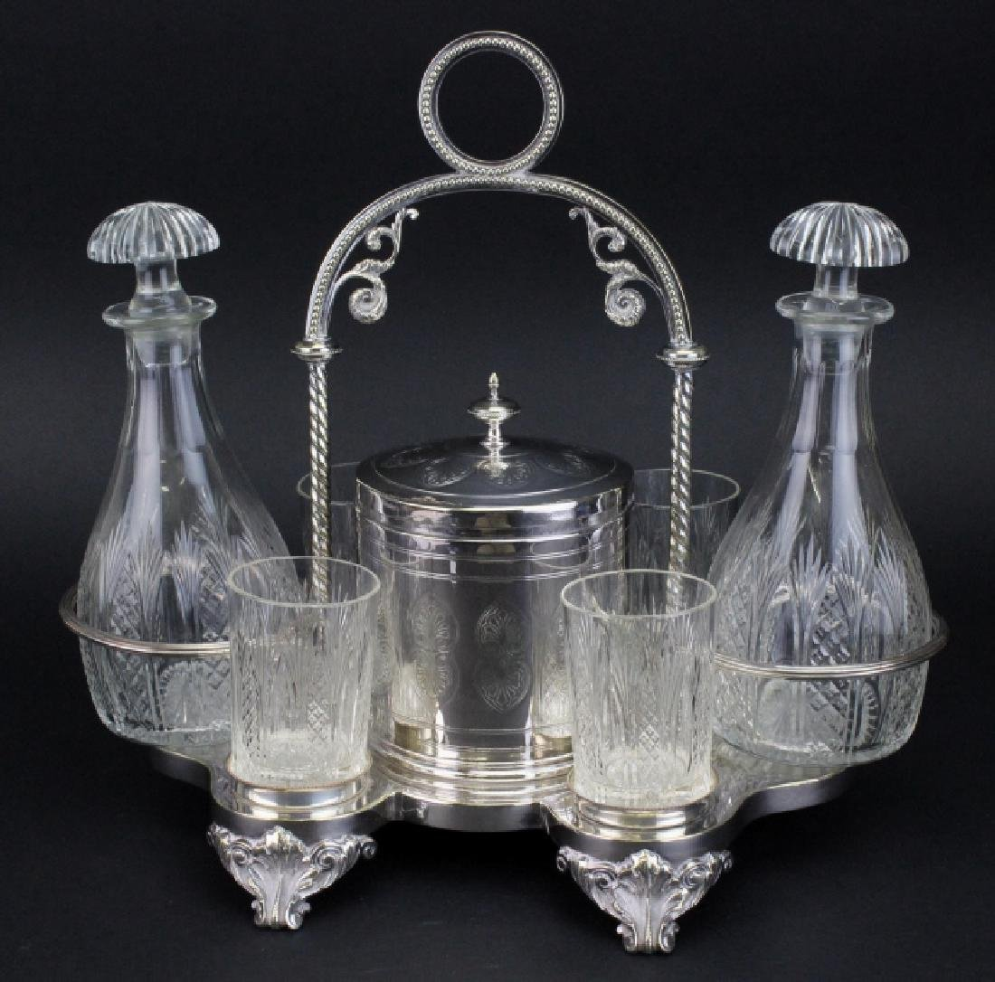 Ornate Victorian Silver Plate Port Decanter Stand