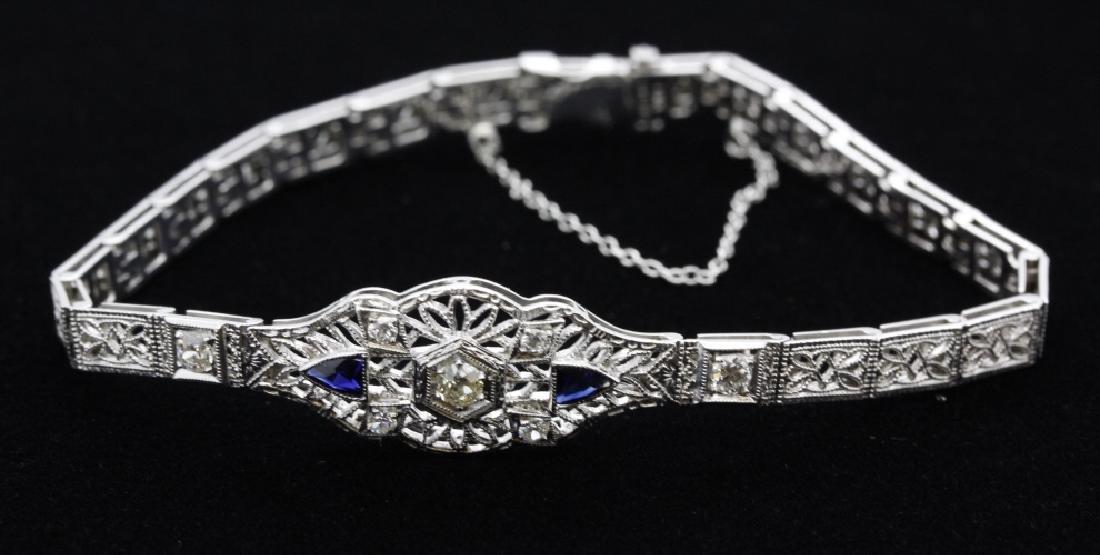 Antique 14k White Gold Filigree Diamond Bracelet