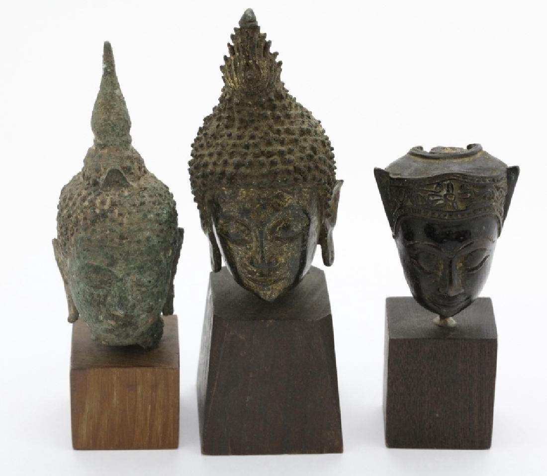 Three South East Asian Bronze Buddha Heads