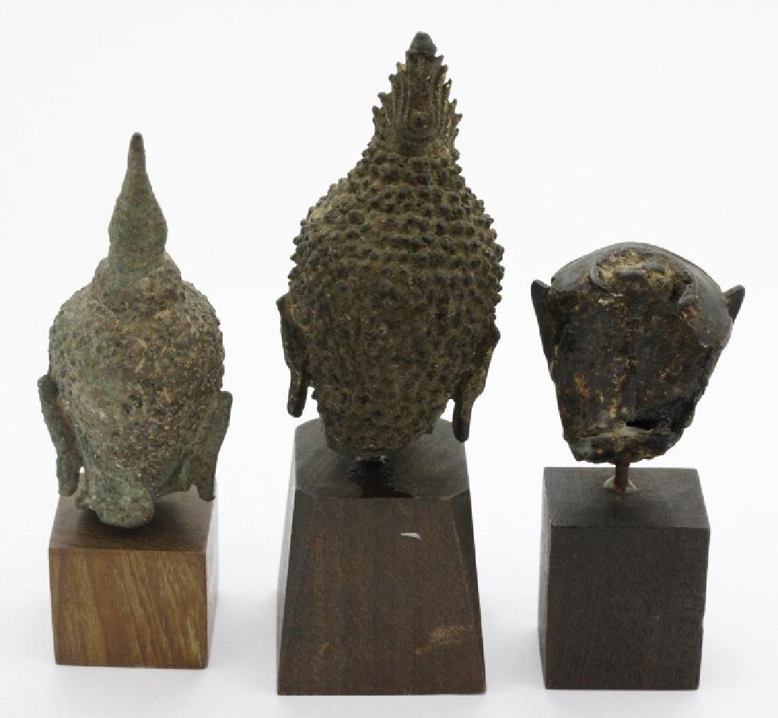 Three South East Asian Bronze Buddha Heads - 2