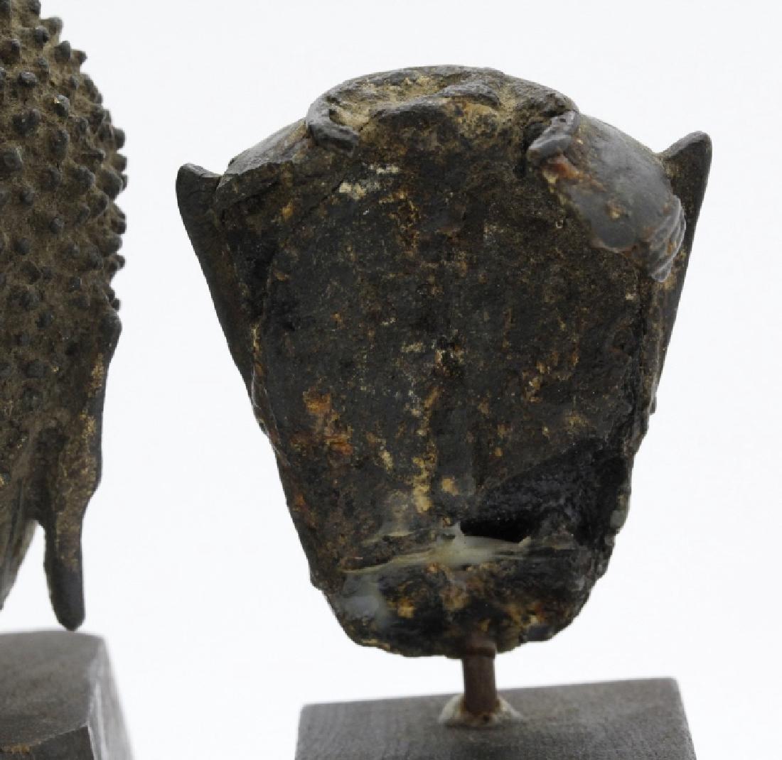Three South East Asian Bronze Buddha Heads - 3
