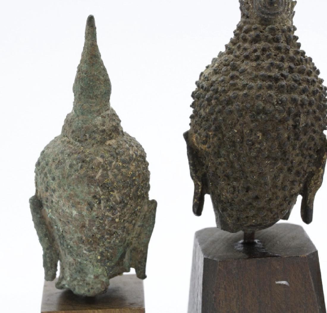 Three South East Asian Bronze Buddha Heads - 4