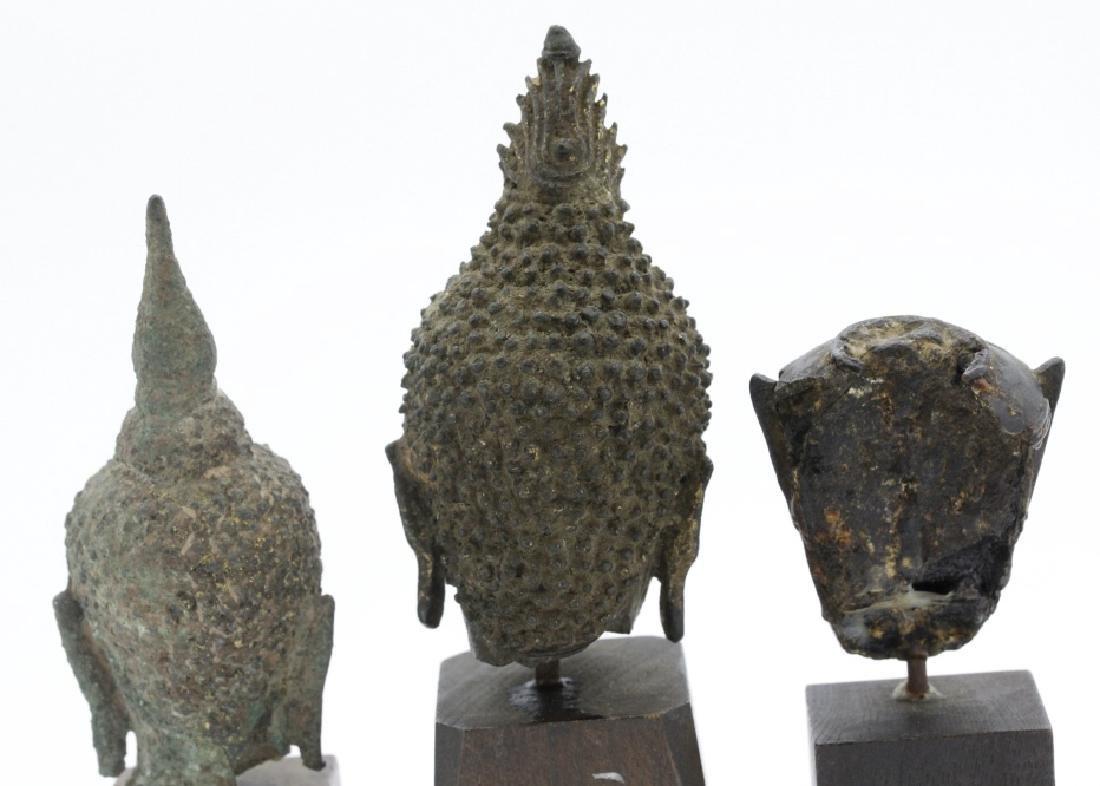 Three South East Asian Bronze Buddha Heads - 5