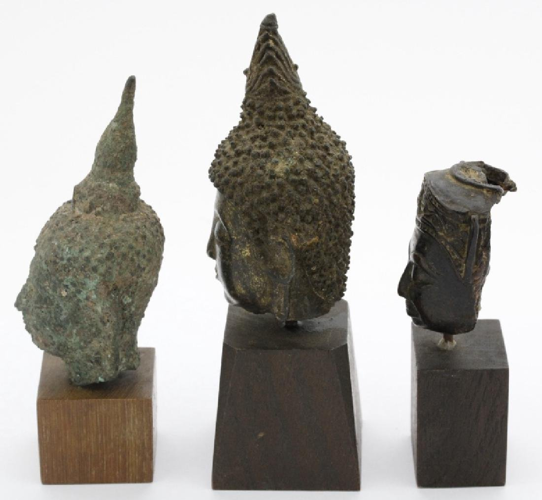 Three South East Asian Bronze Buddha Heads - 6