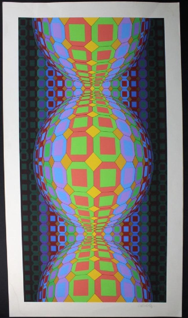 Large VICTOR VASARELY Op Art L/E Silkscreen Print - 2