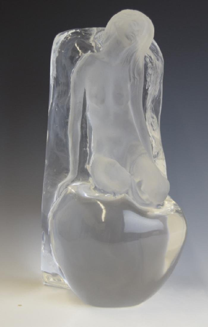 Yaacov Heller Lucite Sculpture Vase Of Nude Woman