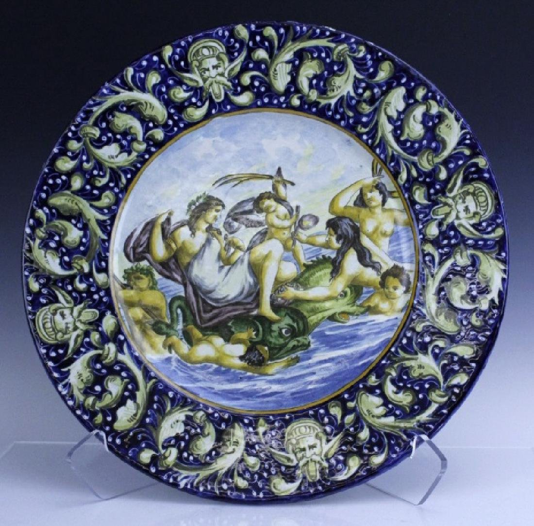 Large Antique Italian Faience Scenic Charger Plate