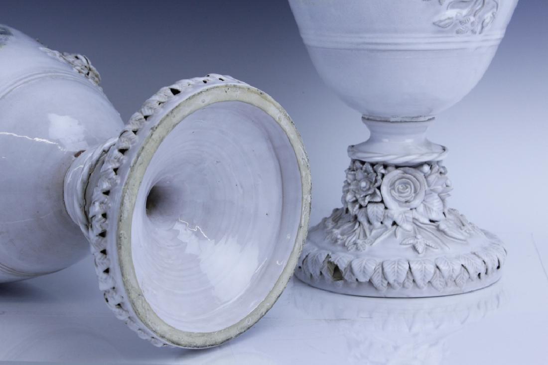 Pair Large Italian Tin Glazed Pottery Scenic Urn - 10
